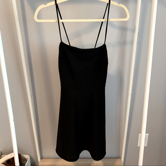 Black open back mini dress from urban outfitters